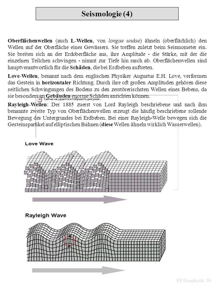 Seismologie (4) EF Geophysik 50 Oberflächenwellen (auch L-Wellen, von longae undae) ähneln (oberflächlich) den Wellen auf der Oberfläche eines Gewässe