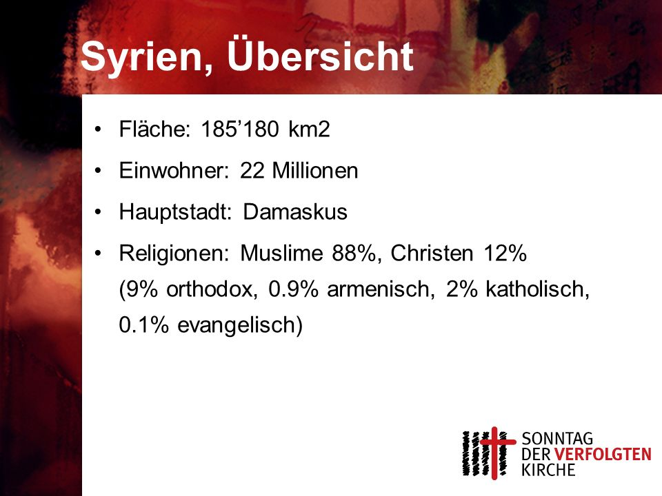 Syrien, Übersicht Fläche: 185180 km2 Einwohner: 22 Millionen Hauptstadt: Damaskus Religionen: Muslime 88%, Christen 12% (9% orthodox, 0.9% armenisch, 2% katholisch, 0.1% evangelisch)