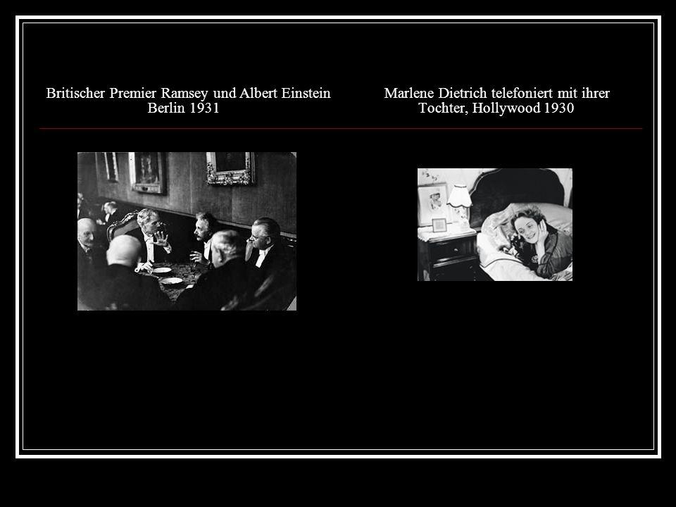Britischer Premier Ramsey und Albert EinsteinMarlene Dietrich telefoniert mit ihrer Berlin 1931 Tochter, Hollywood 1930