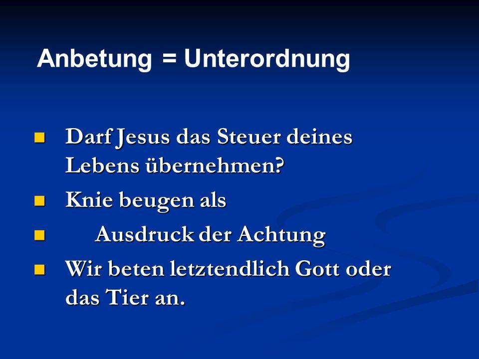 Anbetung = Unterordnung Darf Jesus das Steuer deines Lebens übernehmen? Darf Jesus das Steuer deines Lebens übernehmen? Knie beugen als Knie beugen al