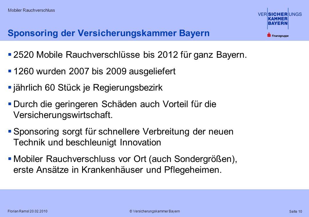 © Versicherungskammer Bayern Seite 10 Florian Ramsl 20.02.2010 Mobiler Rauchverschluss Sponsoring der Versicherungskammer Bayern 2520 Mobile Rauchvers