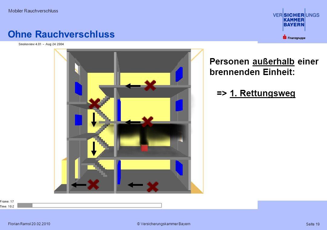 © Versicherungskammer Bayern Seite 19 Florian Ramsl 20.02.2010 Mobiler Rauchverschluss Personen außerhalb einer brennenden Einheit: => 1. Rettungsweg