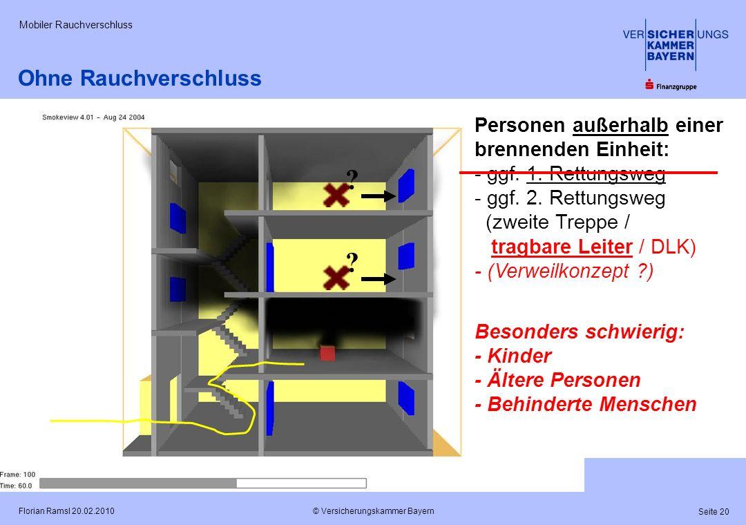 © Versicherungskammer Bayern Seite 20 Florian Ramsl 20.02.2010 Mobiler Rauchverschluss Personen außerhalb einer brennenden Einheit: - ggf. 1. Rettungs