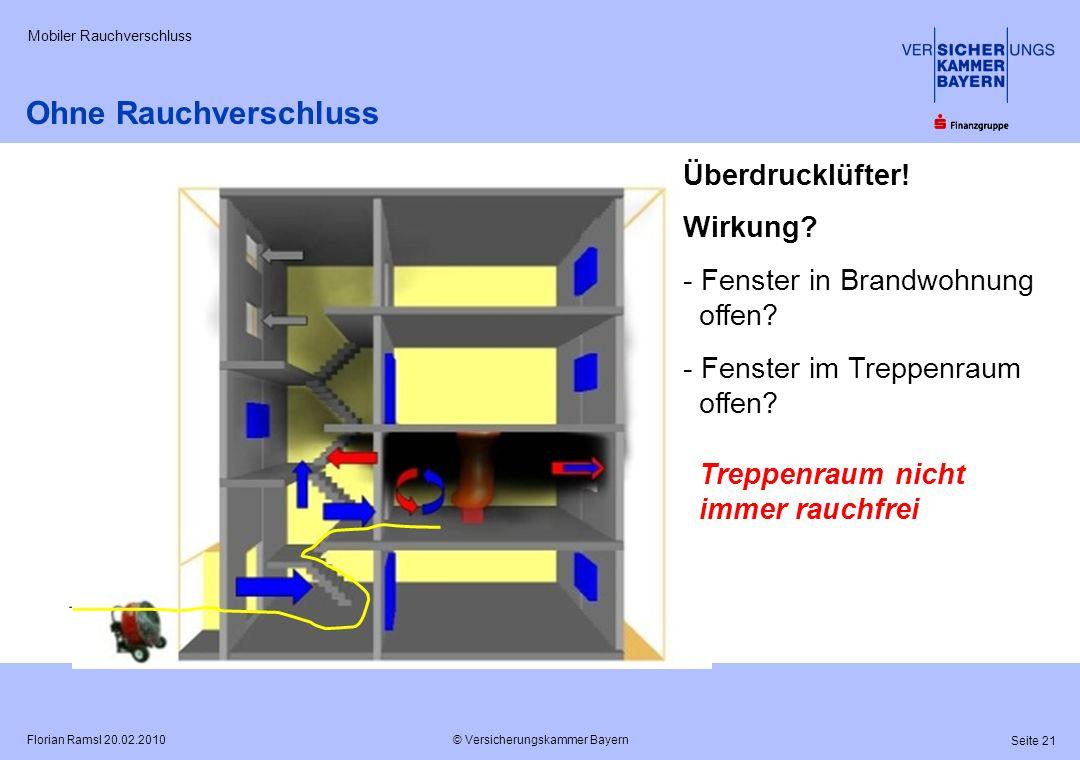 © Versicherungskammer Bayern Seite 21 Florian Ramsl 20.02.2010 Mobiler Rauchverschluss ? ? Überdrucklüfter! Wirkung? - Fenster in Brandwohnung offen?