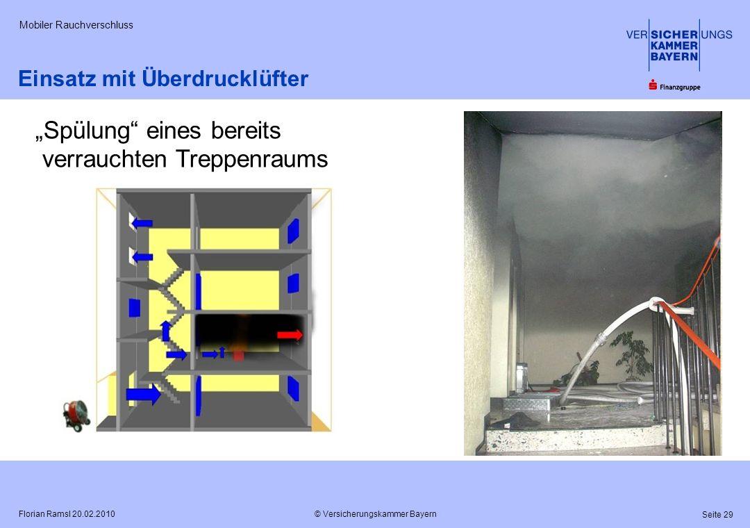 © Versicherungskammer Bayern Seite 29 Florian Ramsl 20.02.2010 Mobiler Rauchverschluss Einsatz mit Überdrucklüfter Spülung eines bereits verrauchten T