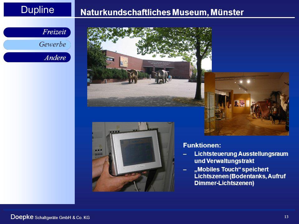 Doepke Schaltgeräte GmbH & Co. KG Gewerbe Freizeit Andere Dupline 13 Naturkundschaftliches Museum, Münster Gewerbe Funktionen: –Lichtsteuerung Ausstel