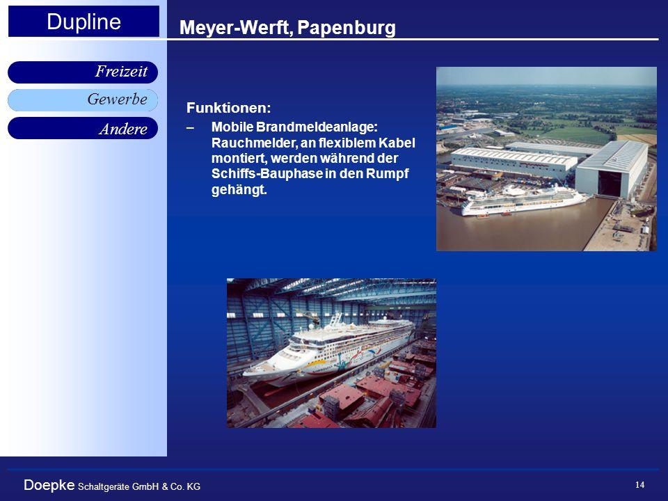 Doepke Schaltgeräte GmbH & Co. KG Gewerbe Freizeit Andere Dupline 14 Meyer-Werft, Papenburg Gewerbe Funktionen: –Mobile Brandmeldeanlage: Rauchmelder,