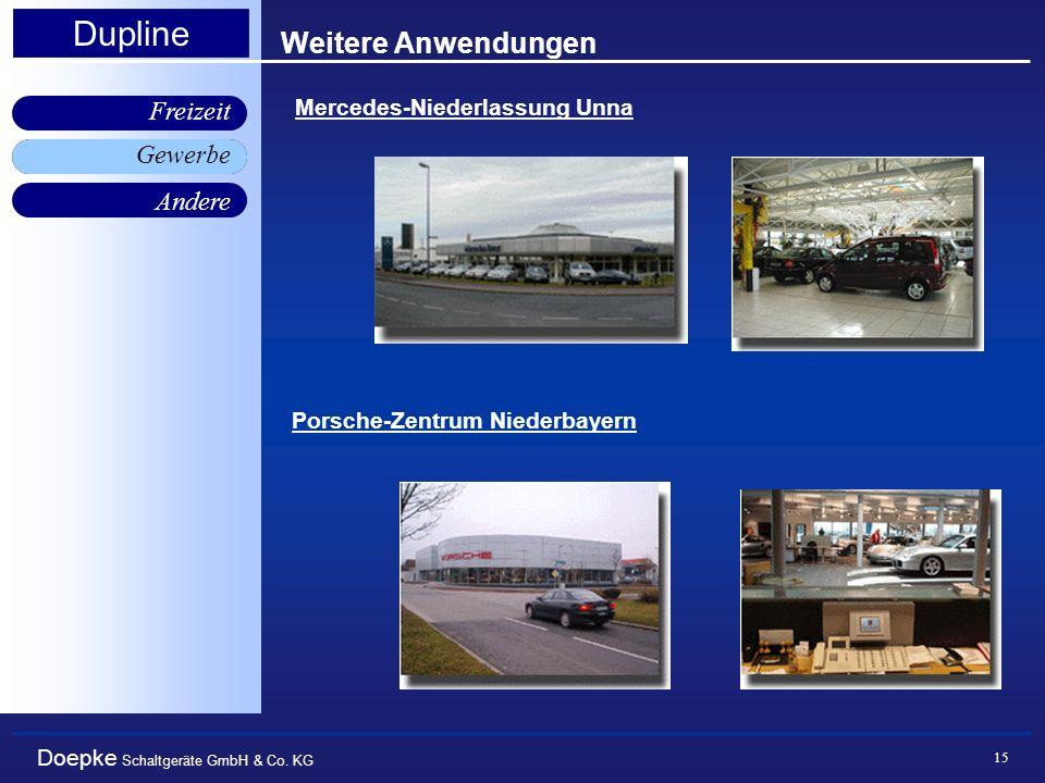 Doepke Schaltgeräte GmbH & Co. KG Gewerbe Freizeit Andere Dupline 15 Weitere Anwendungen Mercedes-Niederlassung Unna Porsche-Zentrum Niederbayern Gewe