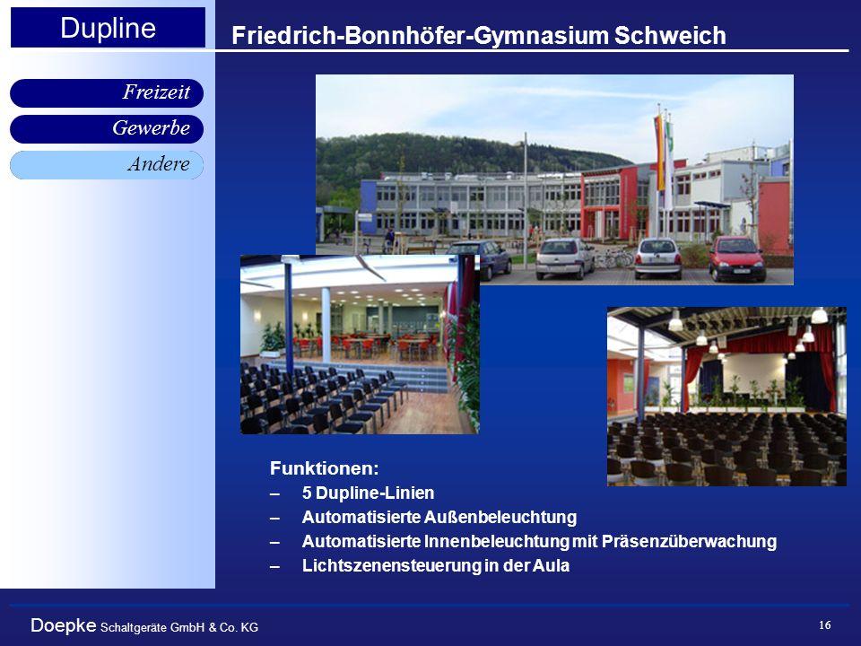 Doepke Schaltgeräte GmbH & Co. KG Gewerbe Freizeit Andere Dupline 16 Friedrich-Bonnhöfer-Gymnasium Schweich Andere Funktionen: –5 Dupline-Linien –Auto