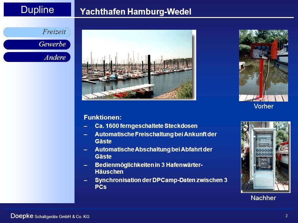 Doepke Schaltgeräte GmbH & Co. KG Gewerbe Freizeit Andere Dupline 2 Yachthafen Hamburg-Wedel Freizeit Vorher Nachher Funktionen: –Ca. 1600 ferngeschal