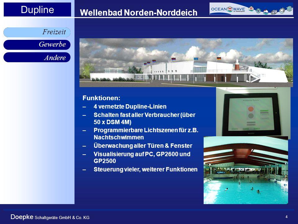 Doepke Schaltgeräte GmbH & Co. KG Gewerbe Freizeit Andere Dupline 4 Wellenbad Norden-Norddeich Funktionen: –4 vernetzte Dupline-Linien –Schalten fast
