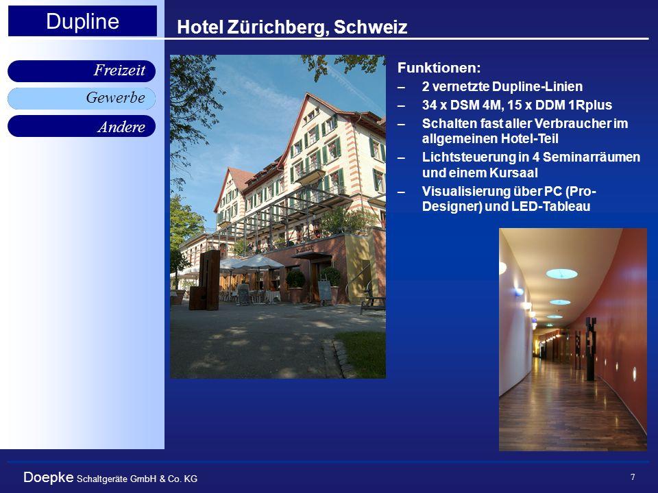 Doepke Schaltgeräte GmbH & Co. KG Gewerbe Freizeit Andere Dupline 7 Hotel Zürichberg, Schweiz Funktionen: –2 vernetzte Dupline-Linien –34 x DSM 4M, 15