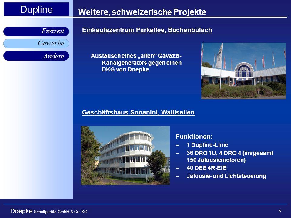 Doepke Schaltgeräte GmbH & Co. KG Gewerbe Freizeit Andere Dupline 8 Weitere, schweizerische Projekte Austausch eines alten Gavazzi- Kanalgenerators ge