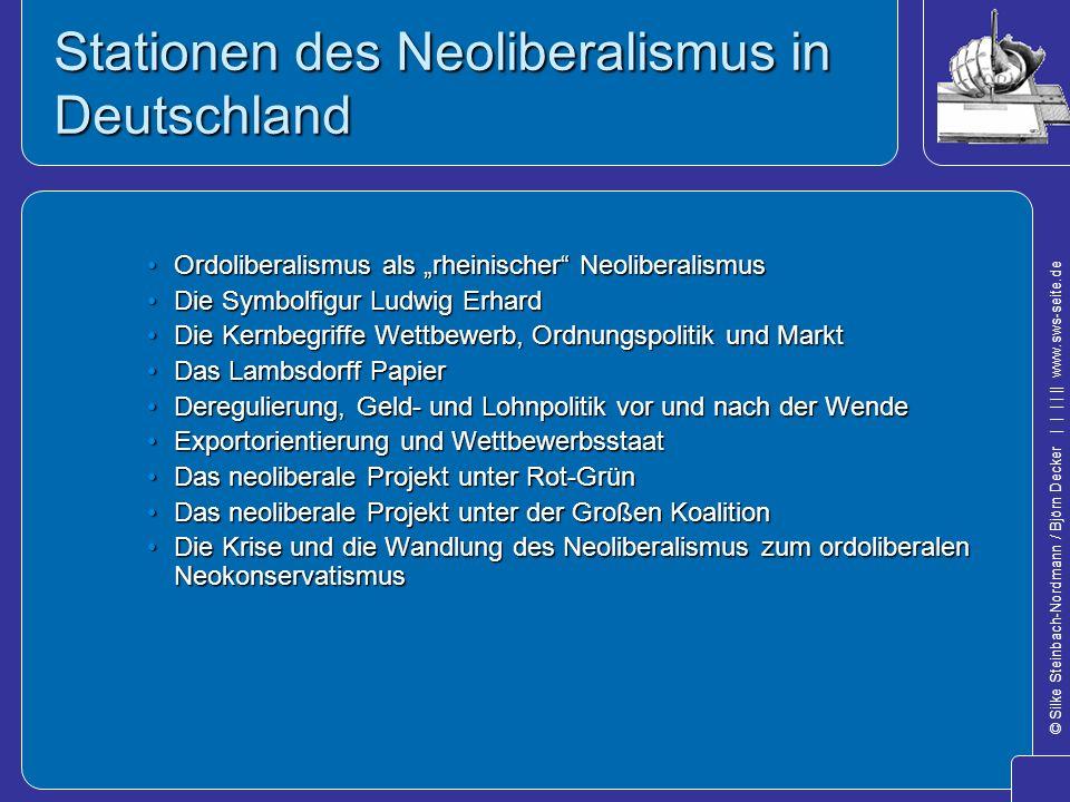 © Silke Steinbach-Nordmann / Björn Decker            www.sws-seite.de Stationen des Neoliberalismus in Deutschland Ordoliberalismus als rheinischer Ne
