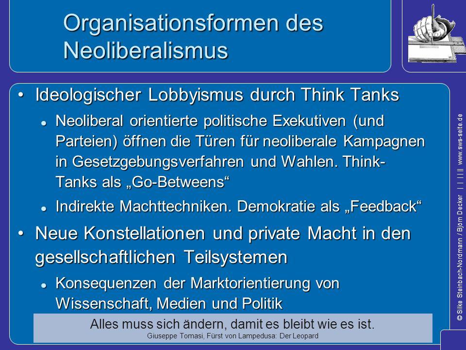 © Silke Steinbach-Nordmann / Björn Decker            www.sws-seite.de Organisationsformen des Neoliberalismus Ideologischer Lobbyismus durch Think Tan