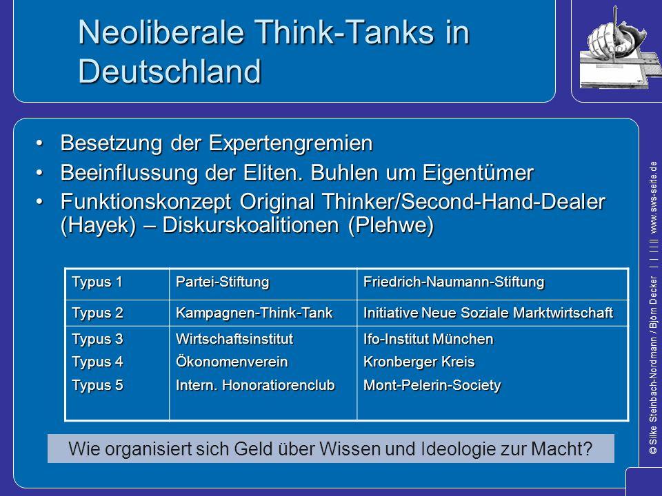 © Silke Steinbach-Nordmann / Björn Decker            www.sws-seite.de Neoliberale Think-Tanks in Deutschland Besetzung der ExpertengremienBesetzung de
