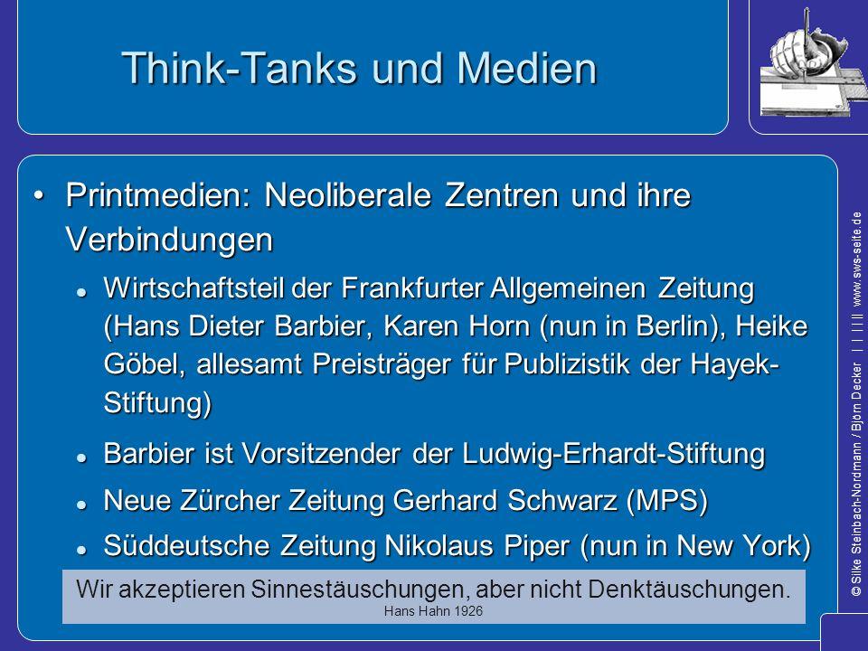 © Silke Steinbach-Nordmann / Björn Decker            www.sws-seite.de Think-Tanks und Medien Printmedien: Neoliberale Zentren und ihre VerbindungenPri