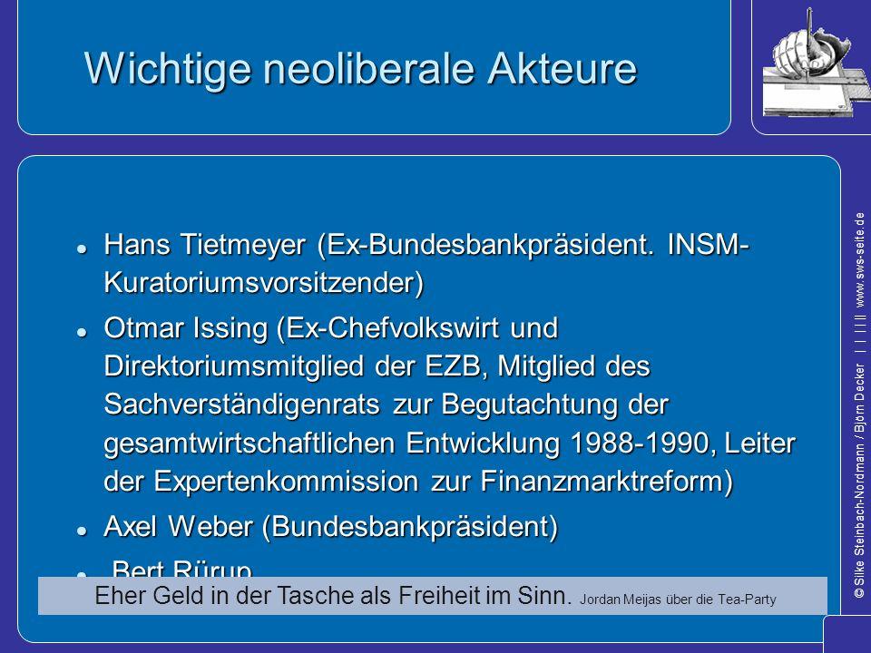 © Silke Steinbach-Nordmann / Björn Decker            www.sws-seite.de Wichtige neoliberale Akteure Hans Tietmeyer (Ex-Bundesbankpräsident. INSM- Kurat