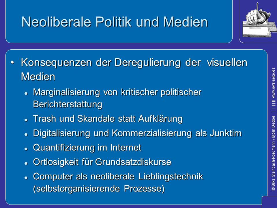 © Silke Steinbach-Nordmann / Björn Decker            www.sws-seite.de Neoliberale Politik und Medien Konsequenzen der Deregulierung der visuellen Medi