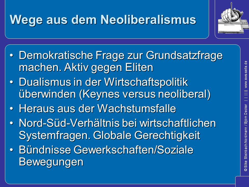 © Silke Steinbach-Nordmann / Björn Decker            www.sws-seite.de Wege aus dem Neoliberalismus Demokratische Frage zur Grundsatzfrage machen. Akti