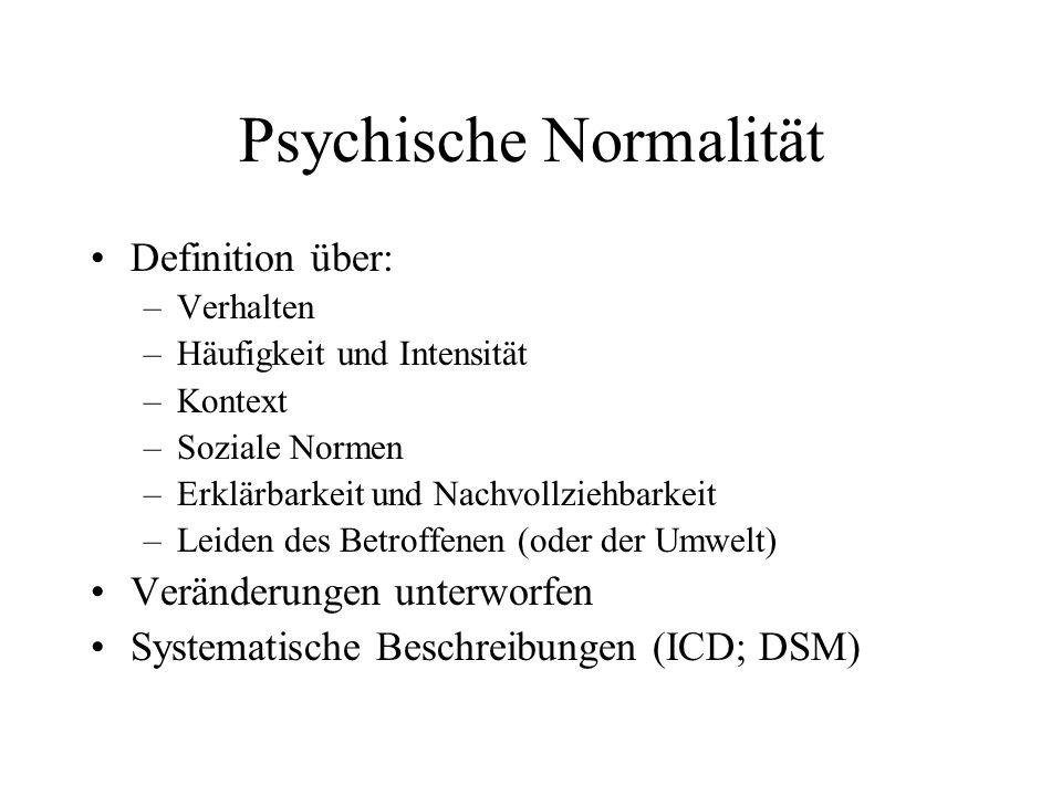 Psychische Normalität Definition über: –Verhalten –Häufigkeit und Intensität –Kontext –Soziale Normen –Erklärbarkeit und Nachvollziehbarkeit –Leiden des Betroffenen (oder der Umwelt) Veränderungen unterworfen Systematische Beschreibungen (ICD; DSM)