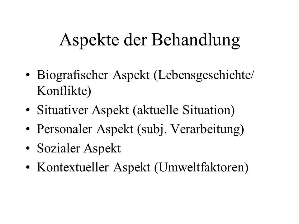 Aspekte der Behandlung Biografischer Aspekt (Lebensgeschichte/ Konflikte) Situativer Aspekt (aktuelle Situation) Personaler Aspekt (subj. Verarbeitung