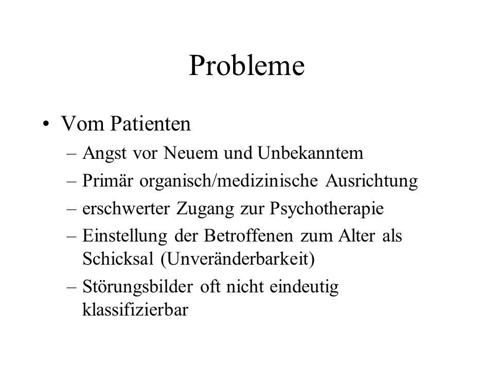 Probleme Vom Patienten –Angst vor Neuem und Unbekanntem –Primär organisch/medizinische Ausrichtung –erschwerter Zugang zur Psychotherapie –Einstellung