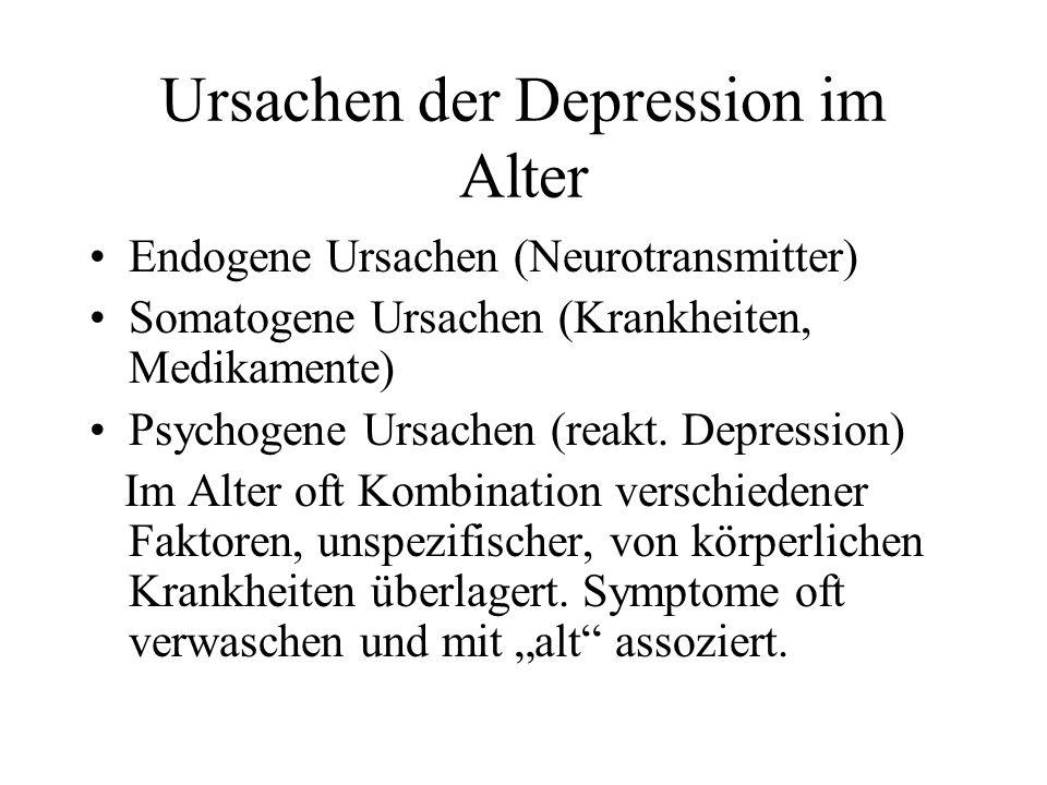Ursachen der Depression im Alter Endogene Ursachen (Neurotransmitter) Somatogene Ursachen (Krankheiten, Medikamente) Psychogene Ursachen (reakt.