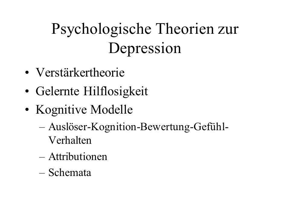Psychologische Theorien zur Depression Verstärkertheorie Gelernte Hilflosigkeit Kognitive Modelle –Auslöser-Kognition-Bewertung-Gefühl- Verhalten –Attributionen –Schemata