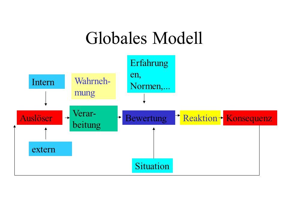 Globales Modell Auslöser Intern extern Verar- beitung Erfahrung en, Normen,... Situation BewertungReaktion Konsequenz Wahrneh- mung