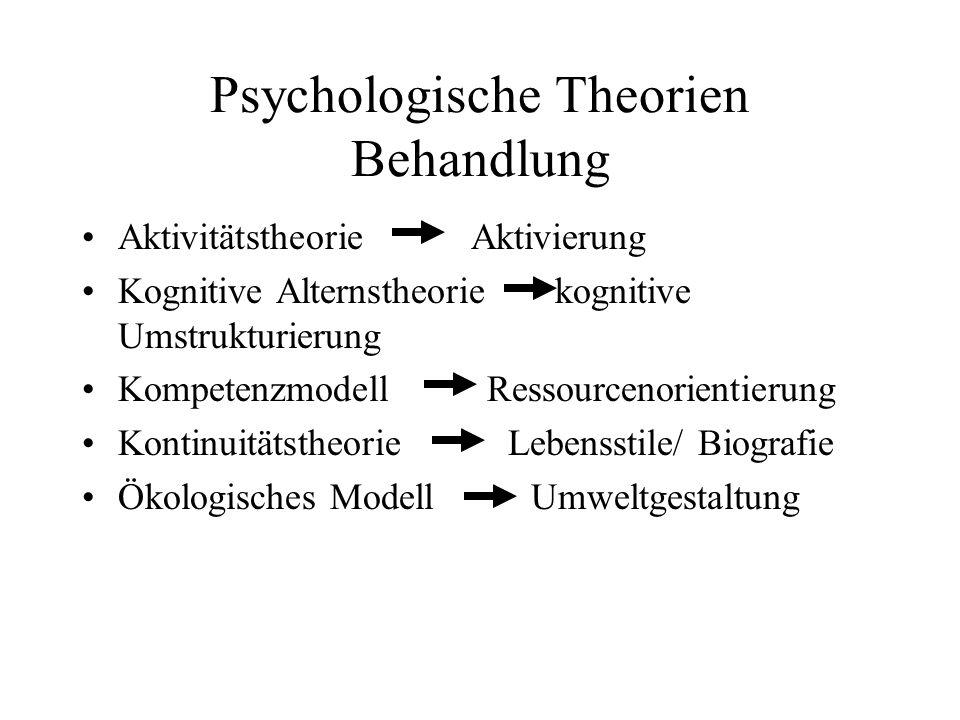 Psychologische Theorien Behandlung Aktivitätstheorie Aktivierung Kognitive Alternstheorie kognitive Umstrukturierung Kompetenzmodell Ressourcenorienti