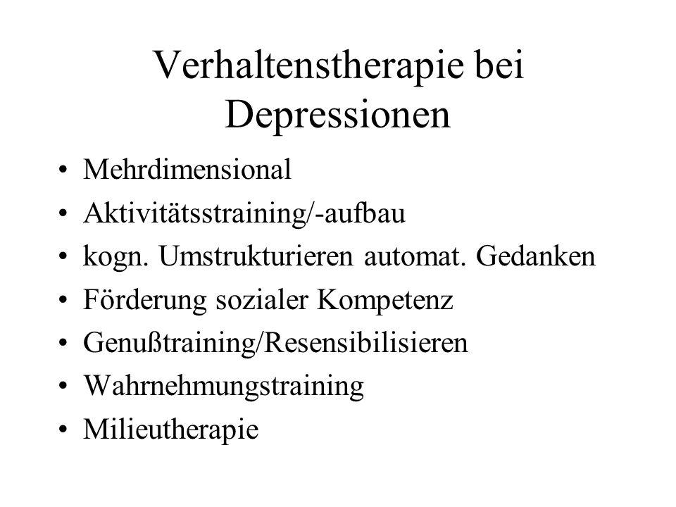Verhaltenstherapie bei Depressionen Mehrdimensional Aktivitätsstraining/-aufbau kogn. Umstrukturieren automat. Gedanken Förderung sozialer Kompetenz G