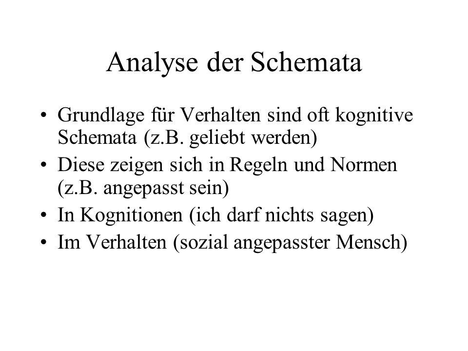 Analyse der Schemata Grundlage für Verhalten sind oft kognitive Schemata (z.B. geliebt werden) Diese zeigen sich in Regeln und Normen (z.B. angepasst