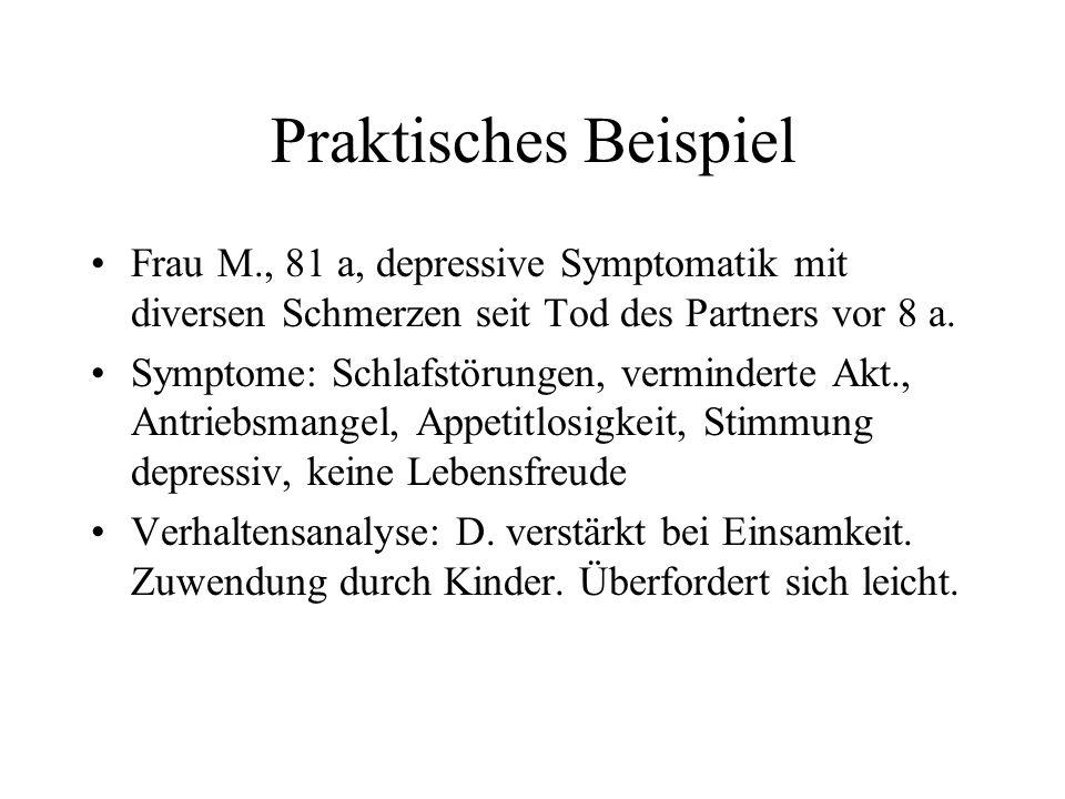 Praktisches Beispiel Frau M., 81 a, depressive Symptomatik mit diversen Schmerzen seit Tod des Partners vor 8 a. Symptome: Schlafstörungen, vermindert