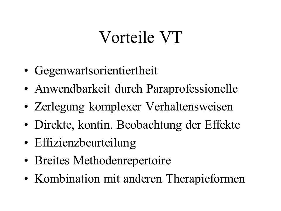 Vorteile VT Gegenwartsorientiertheit Anwendbarkeit durch Paraprofessionelle Zerlegung komplexer Verhaltensweisen Direkte, kontin.