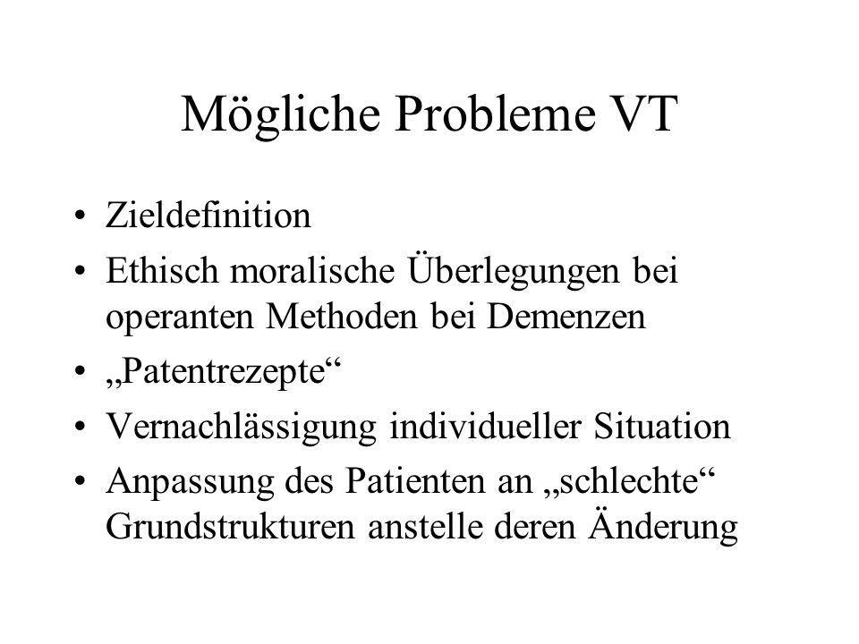 Mögliche Probleme VT Zieldefinition Ethisch moralische Überlegungen bei operanten Methoden bei Demenzen Patentrezepte Vernachlässigung individueller Situation Anpassung des Patienten an schlechte Grundstrukturen anstelle deren Änderung