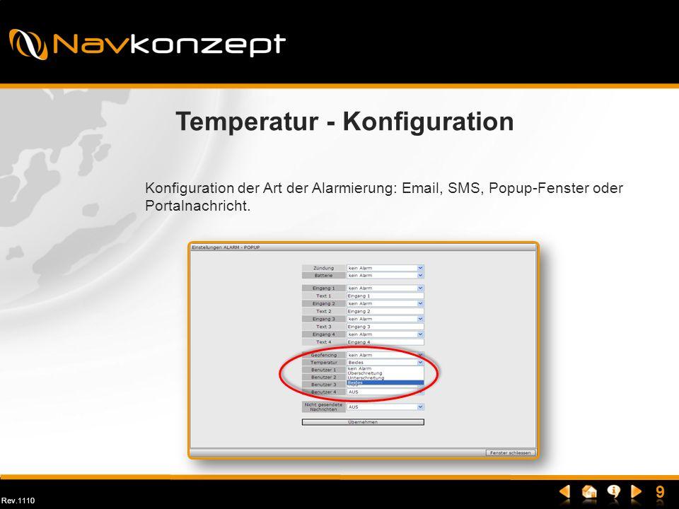 Rev.1110 Temperatur - Konfiguration Konfiguration der Art der Alarmierung: Email, SMS, Popup-Fenster oder Portalnachricht.