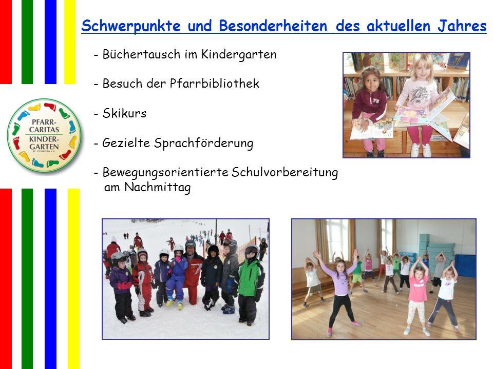 Schwerpunkte und Besonderheiten des aktuellen Jahres - Büchertausch im Kindergarten - Besuch der Pfarrbibliothek - Skikurs - Gezielte Sprachförderung - Bewegungsorientierte Schulvorbereitung am Nachmittag