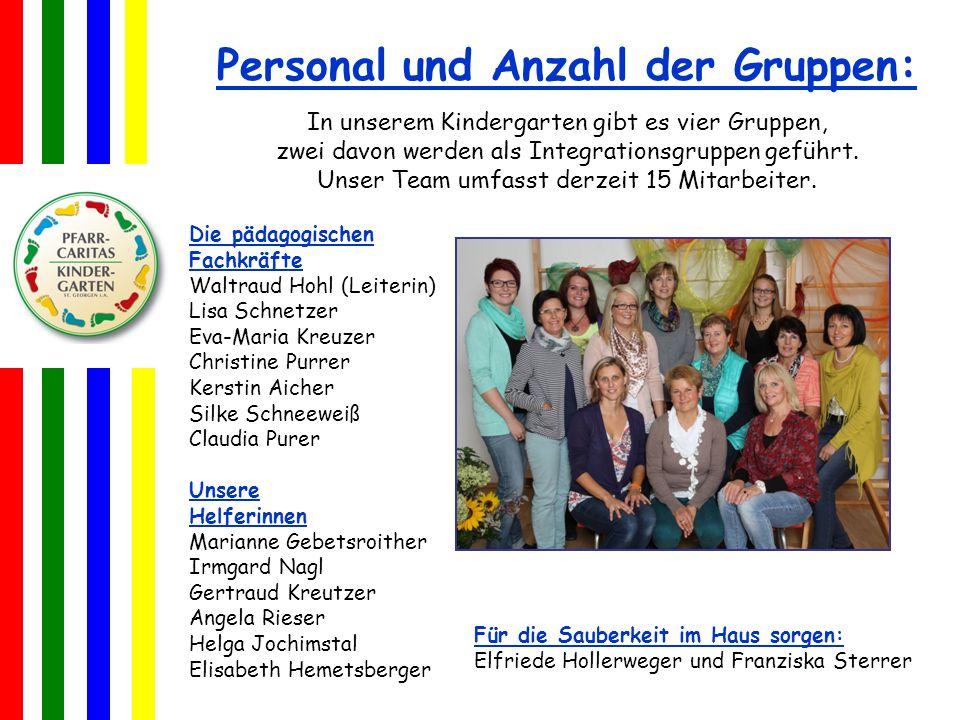 Personal und Anzahl der Gruppen: In unserem Kindergarten gibt es vier Gruppen, zwei davon werden als Integrationsgruppen geführt.
