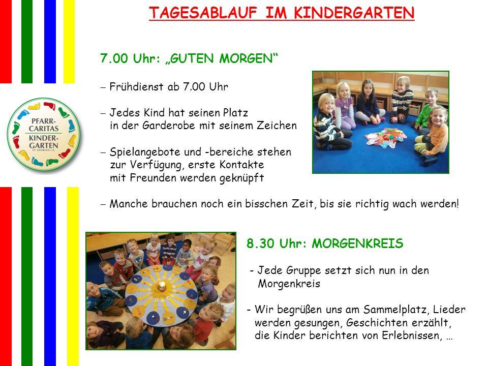 TAGESABLAUF IM KINDERGARTEN 7.00 Uhr: GUTEN MORGEN Frühdienst ab 7.00 Uhr Jedes Kind hat seinen Platz in der Garderobe mit seinem Zeichen Spielangebot