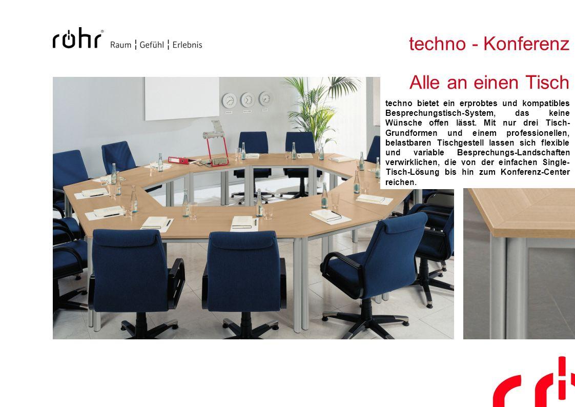 techno - Konferenz Alle an einen Tisch techno bietet ein erprobtes und kompatibles Besprechungstisch-System, das keine Wünsche offen lässt. Mit nur dr
