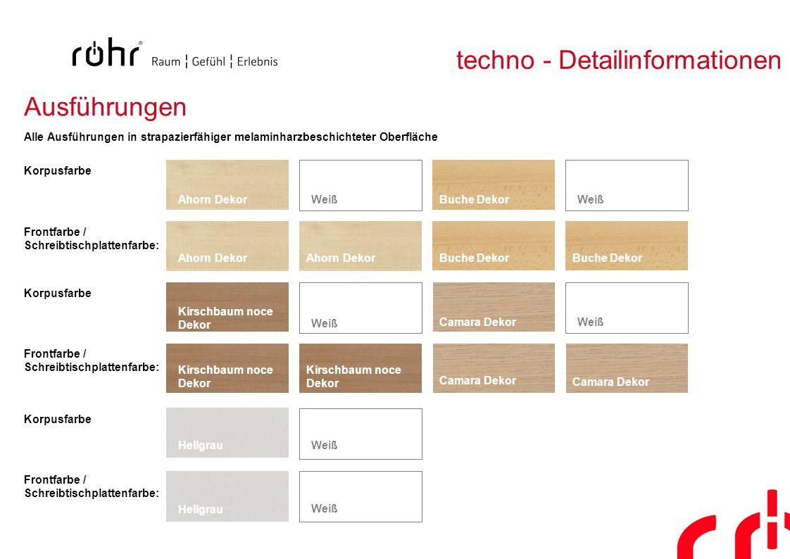 techno - Detailinformationen Ausführungen Korpusfarbe Frontfarbe / Schreibtischplattenfarbe: Korpusfarbe Frontfarbe / Schreibtischplattenfarbe: Korpus