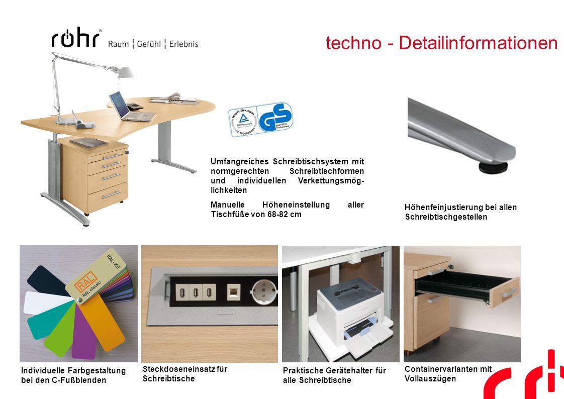 techno - Detailinformationen Steckdoseneinsatz für Schreibtische Praktische Gerätehalter für alle Schreibtische Höhenfeinjustierung bei allen Schreibt