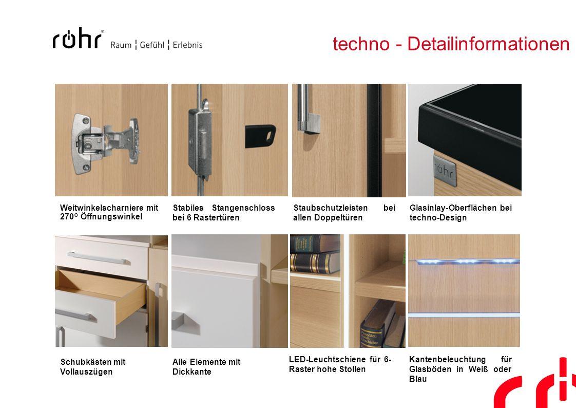 techno - Detailinformationen Weitwinkelscharniere mit 270° Öffnungswinkel Stabiles Stangenschloss bei 6 Rastertüren Staubschutzleisten bei allen Doppe