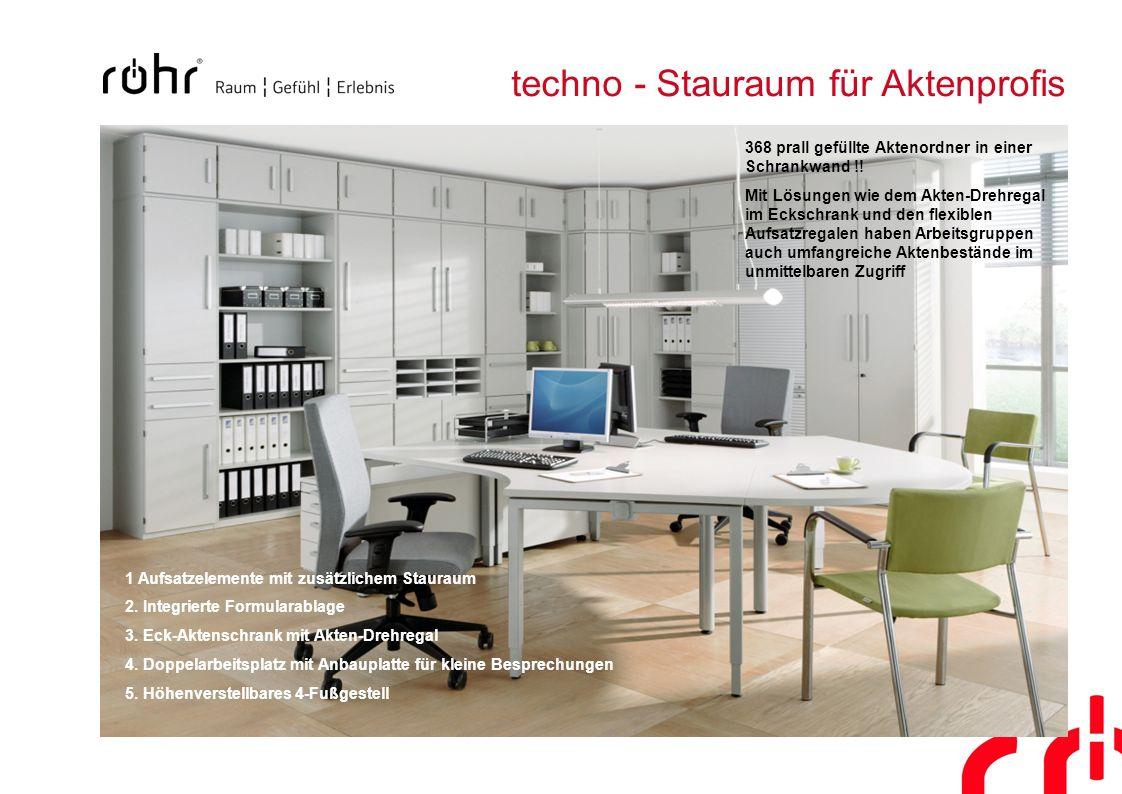 techno - Stauraum für Aktenprofis 1 Aufsatzelemente mit zusätzlichem Stauraum 2. Integrierte Formularablage 3. Eck-Aktenschrank mit Akten-Drehregal 4.