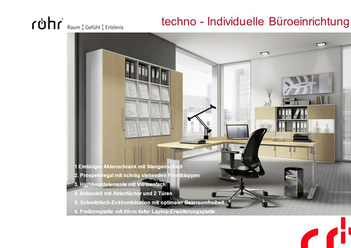 techno - Individuelle Büroeinrichtung 1 Eintüriger Aktenschrank mit Stangenschlo0 2. Prospektregal mit schräg stehenden Frontklappen 3. Highboardeleme