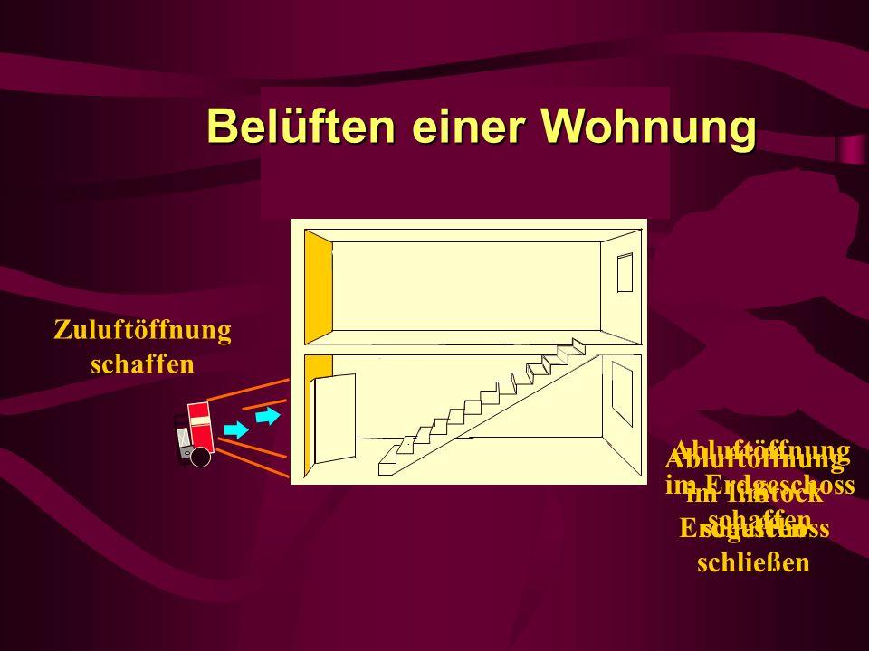 Abluftöffnung im Erdgeschoss schaffen Zuluftöffnung schaffen Abluftöffnung im Erdgeschoss schließen Abluftöffnung im 1. Stock schaffen Belüften einer