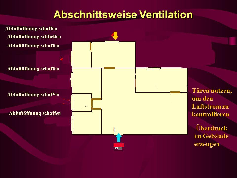 Abschnittsweise Ventilation Abluftöffnung schaffen Überdruck im Gebäude erzeugen Türen nutzen, um den Luftstrom zu kontrollieren Abluftöffnung schaffe