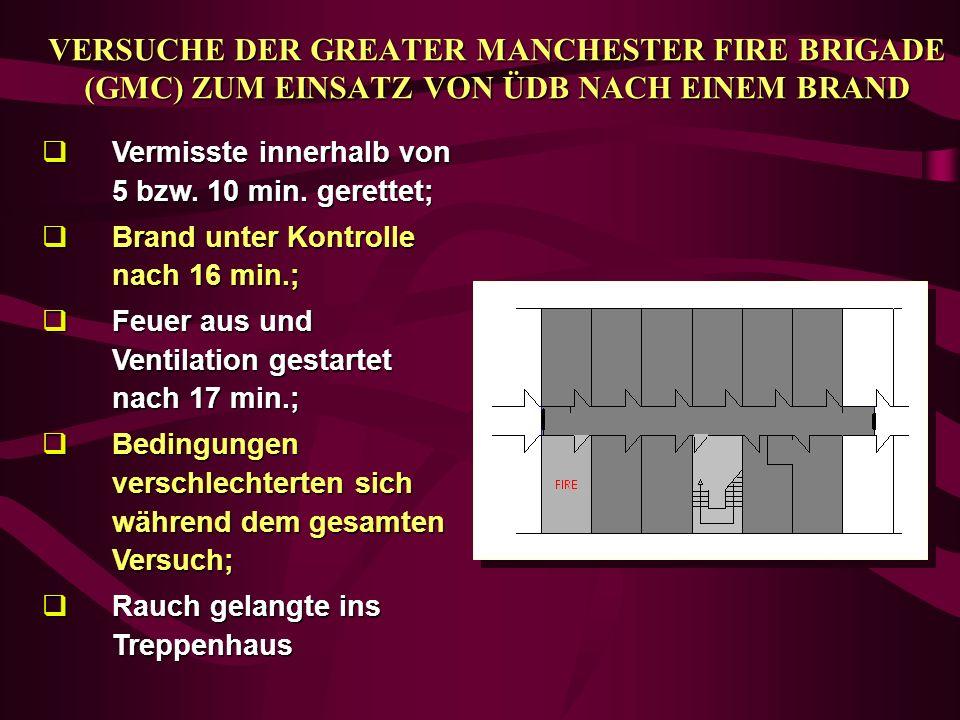 VERSUCHE DER GREATER MANCHESTER FIRE BRIGADE (GMC) ZUM EINSATZ VON ÜDB NACH EINEM BRAND qVermisste innerhalb von 5 bzw. 10 min. gerettet; qBrand unter