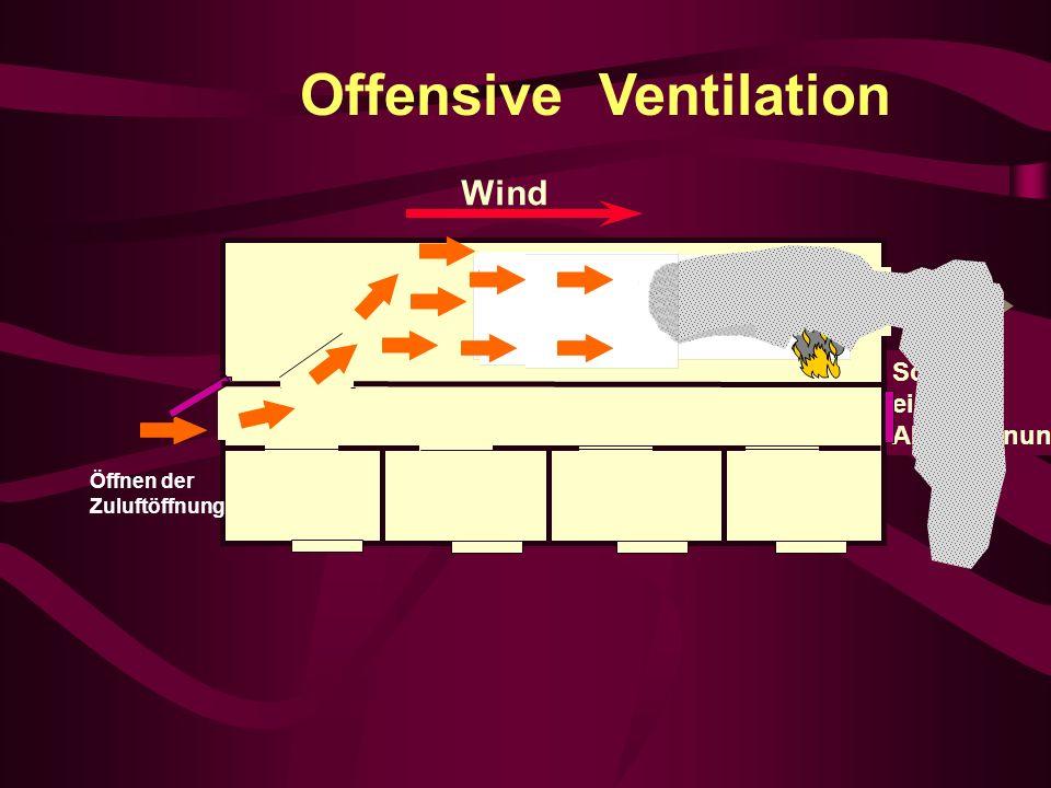 Offensive Ventilation Schaffen einer Abluftöffnung Öffnen der Zuluftöffnung Wind